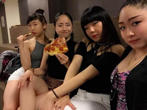 Before Momoca and Kaori's birthday party. We got pizza from Bonnie and Brinda. Thank you! Happy birthday to these two beauties:)